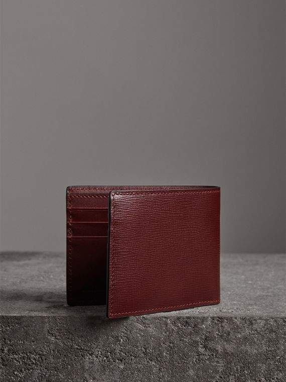 London Leather Bifold Wallet in Burgundy Red - Men | Burberry United States - cell image 2