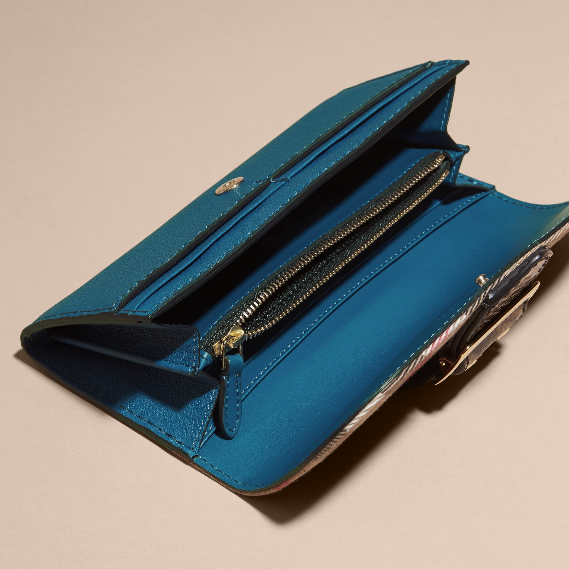Snakeskin and House Check Continental Wallet Peacock Blue - gallery image 5