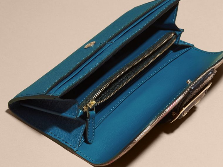 Snakeskin and House Check Continental Wallet in Peacock Blue - cell image 4