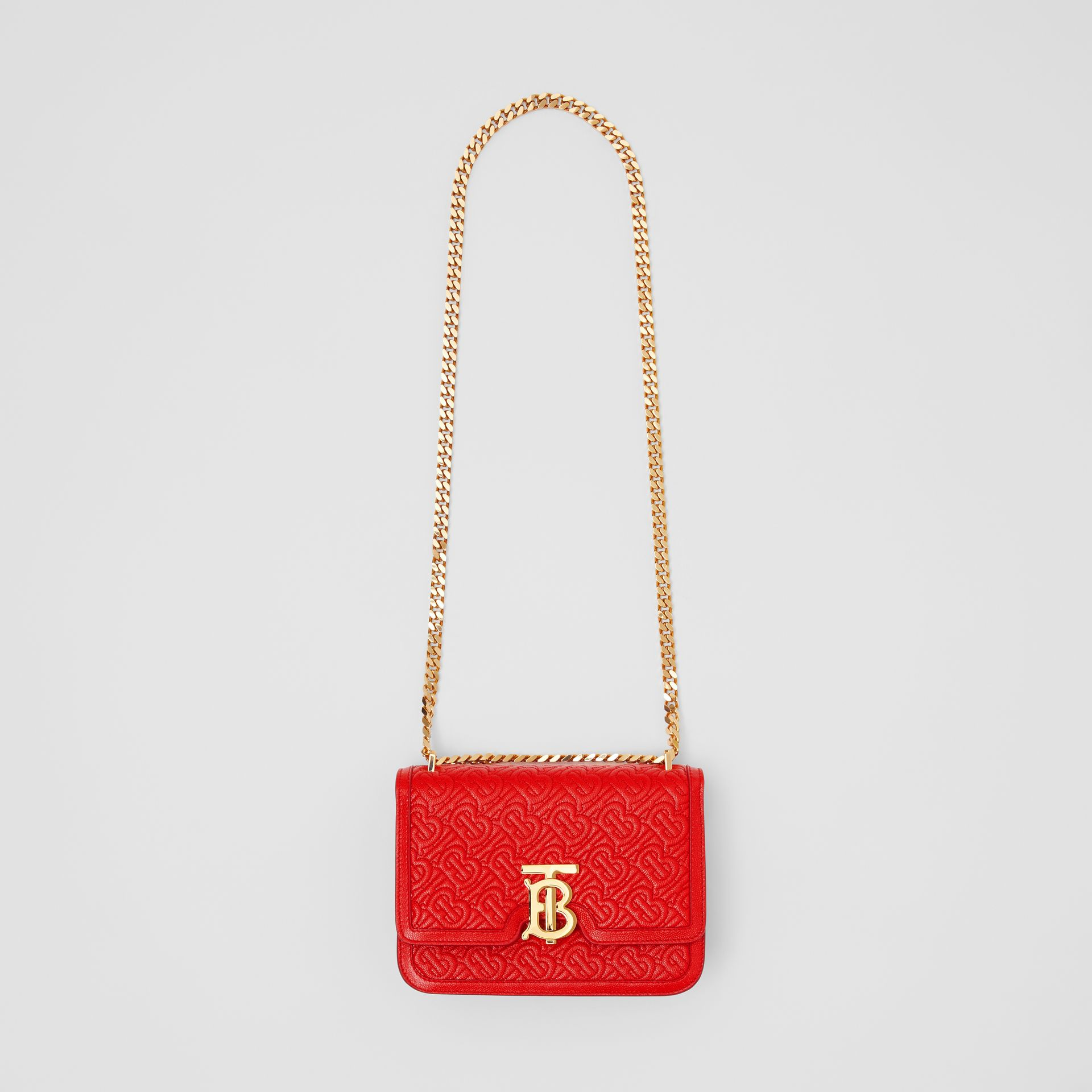 Small Quilted Monogram Leather TB Bag in Bright Red - Women | Burberry United States - gallery image 3