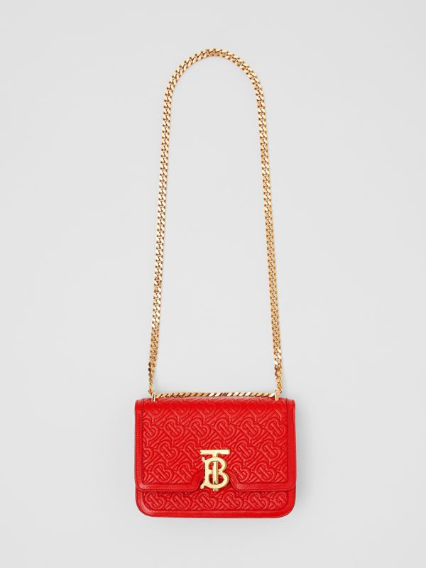 Small Quilted Monogram Leather TB Bag in Bright Red - Women   Burberry - cell image 3
