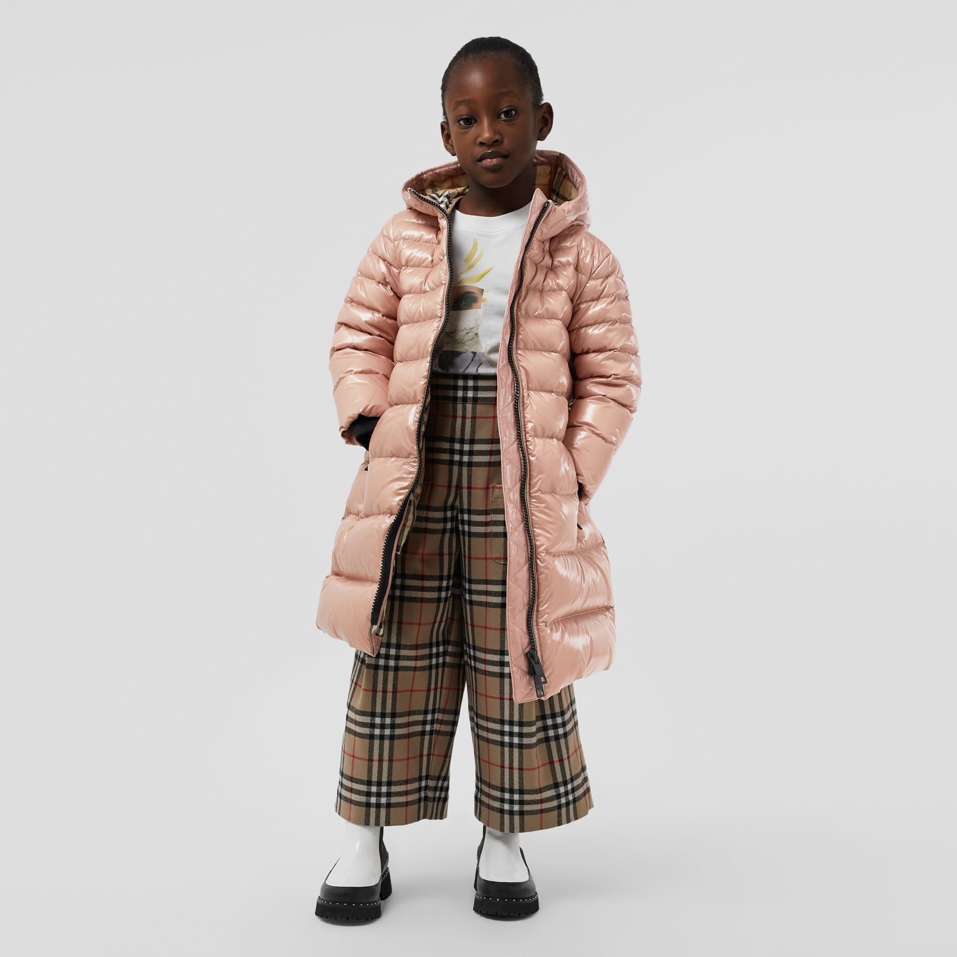 Icon Stripe Detail Down-filled Hooded Puffer Coat in Lavender Pink | Burberry United States - gallery image 2