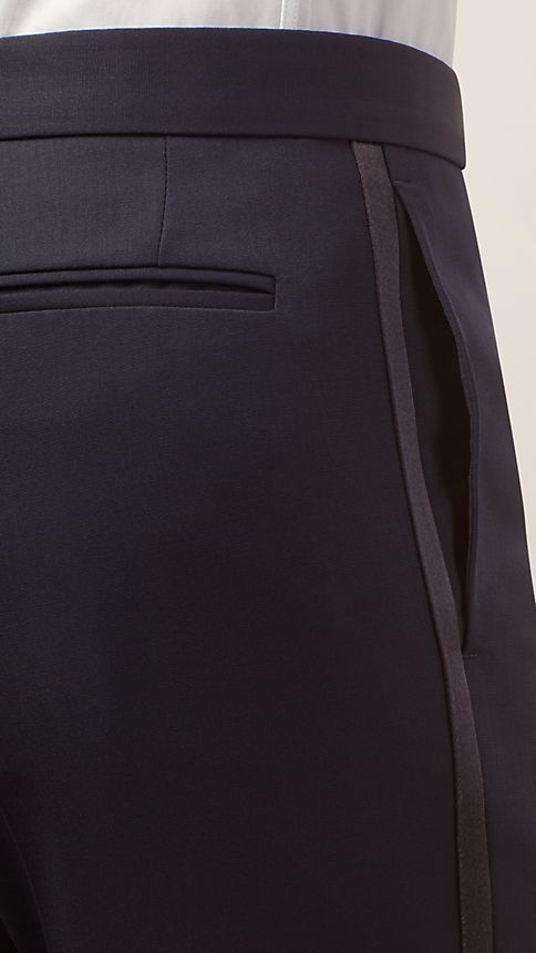 Navy Virgin Wool Tuxedo Trousers - Image 3