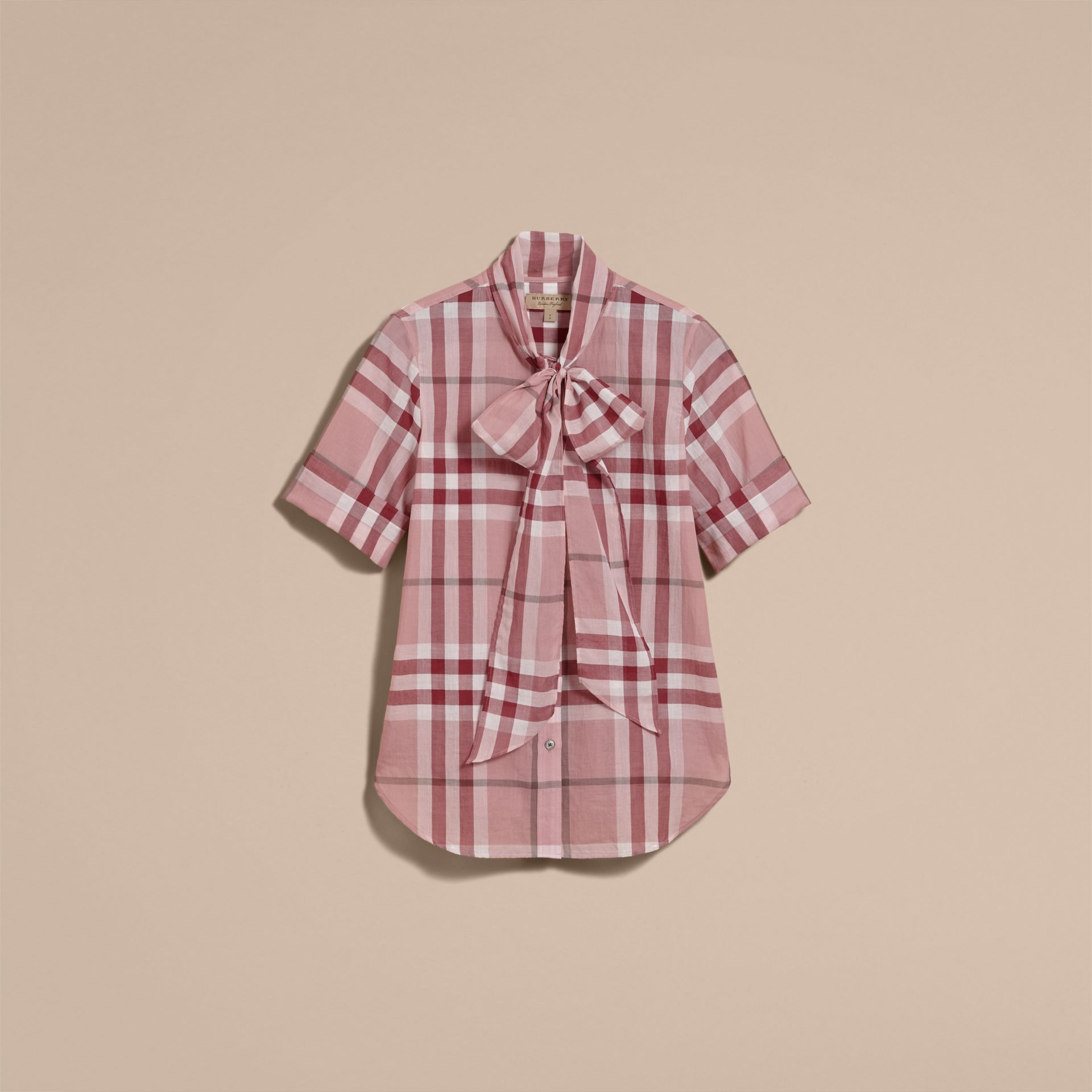Short-sleeve Check Cotton Tie Neck Shirt in Antique Pink - Women | Burberry - gallery image 4