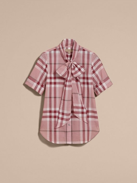 Short-sleeve Check Cotton Tie Neck Shirt in Antique Pink - Women | Burberry - cell image 3