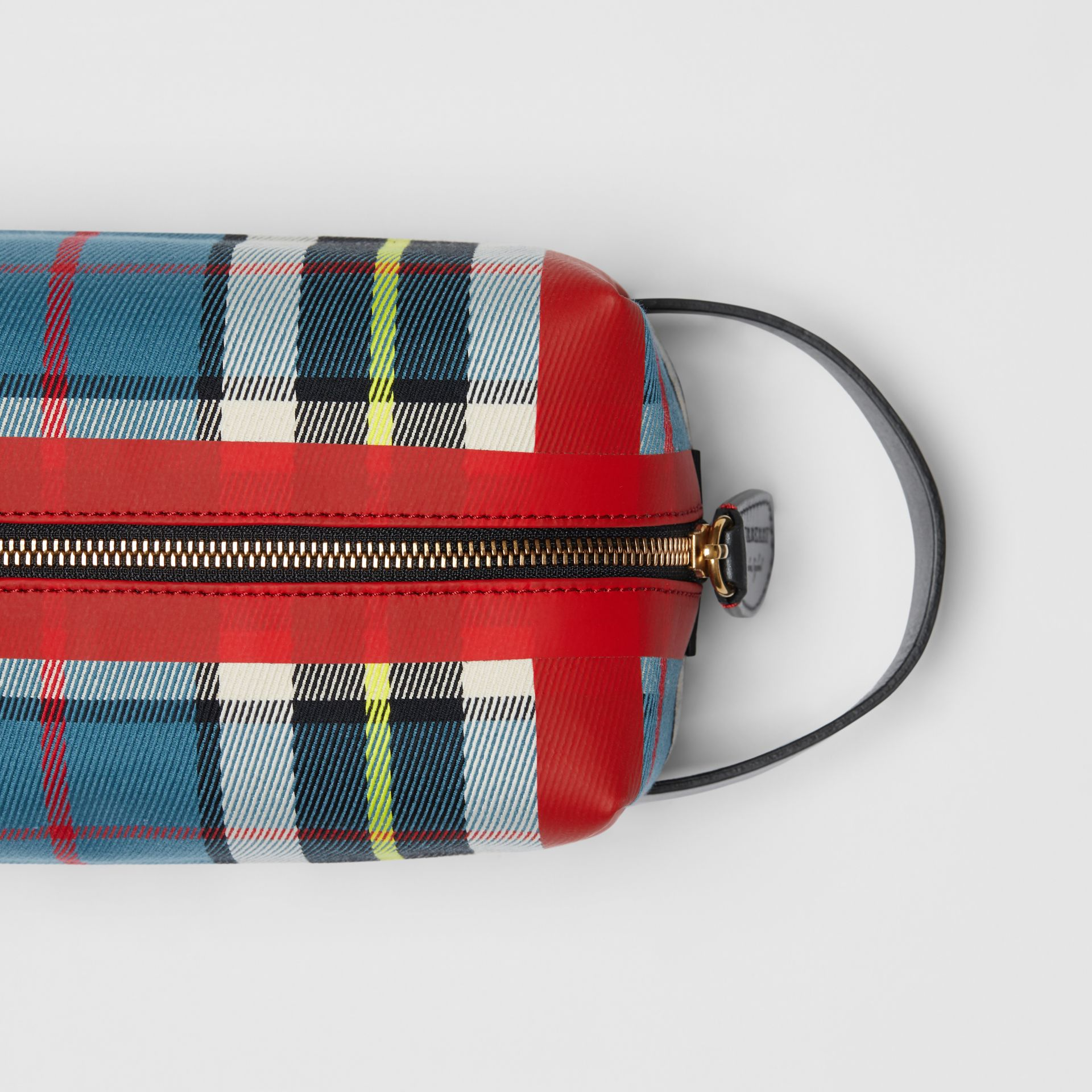 Tartan Cotton Pouch in Blue | Burberry - gallery image 1