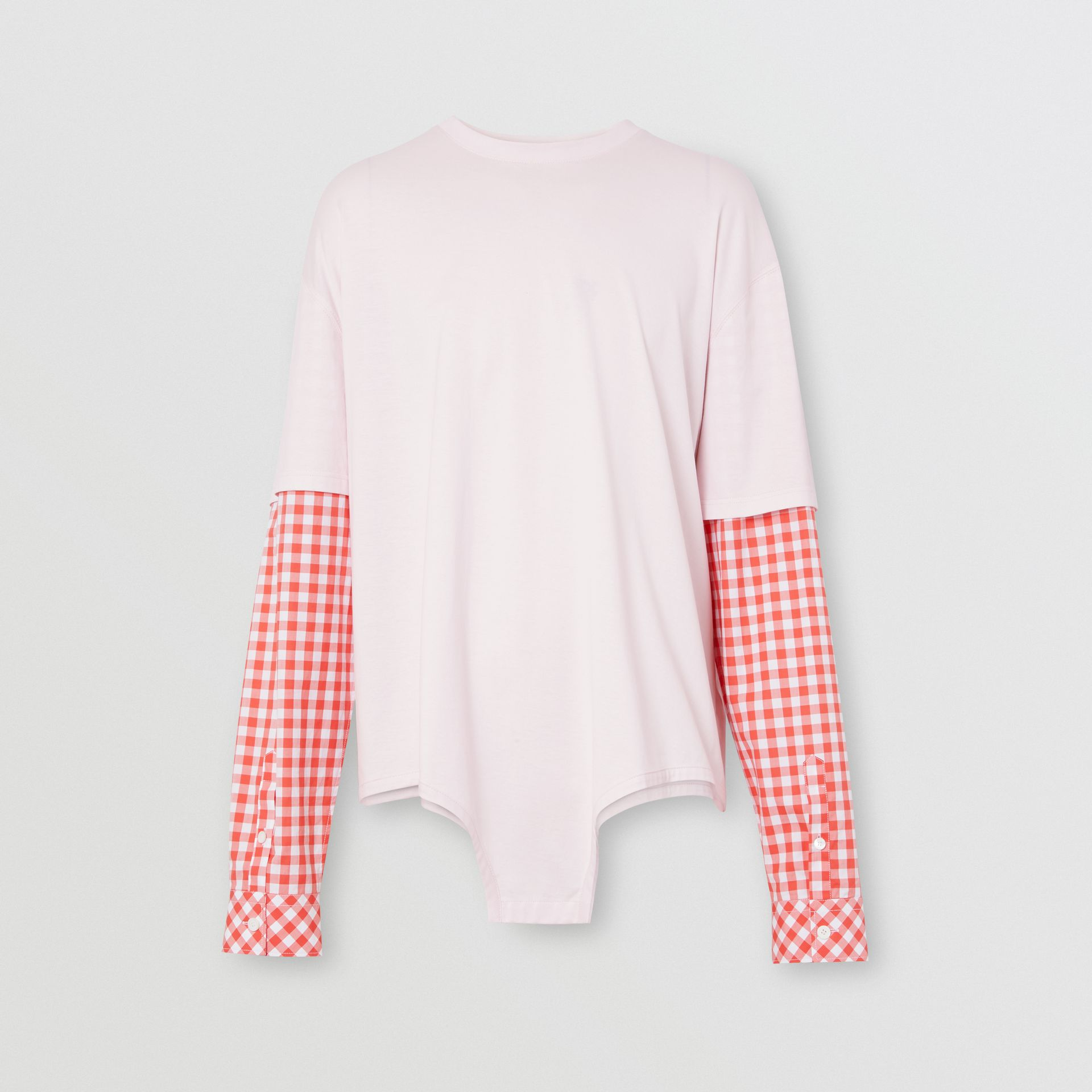 Gingham Sleeve Cut-out Hem Cotton Oversized T-shirt in Pale Pink | Burberry - gallery image 3