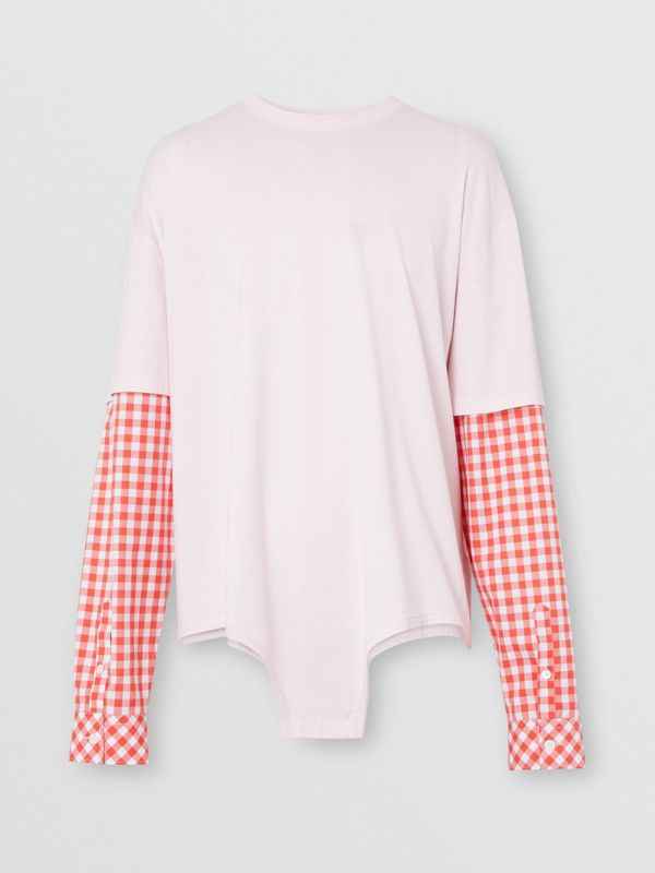 Gingham Sleeve Cut-out Hem Cotton Oversized T-shirt in Pale Pink | Burberry - cell image 3