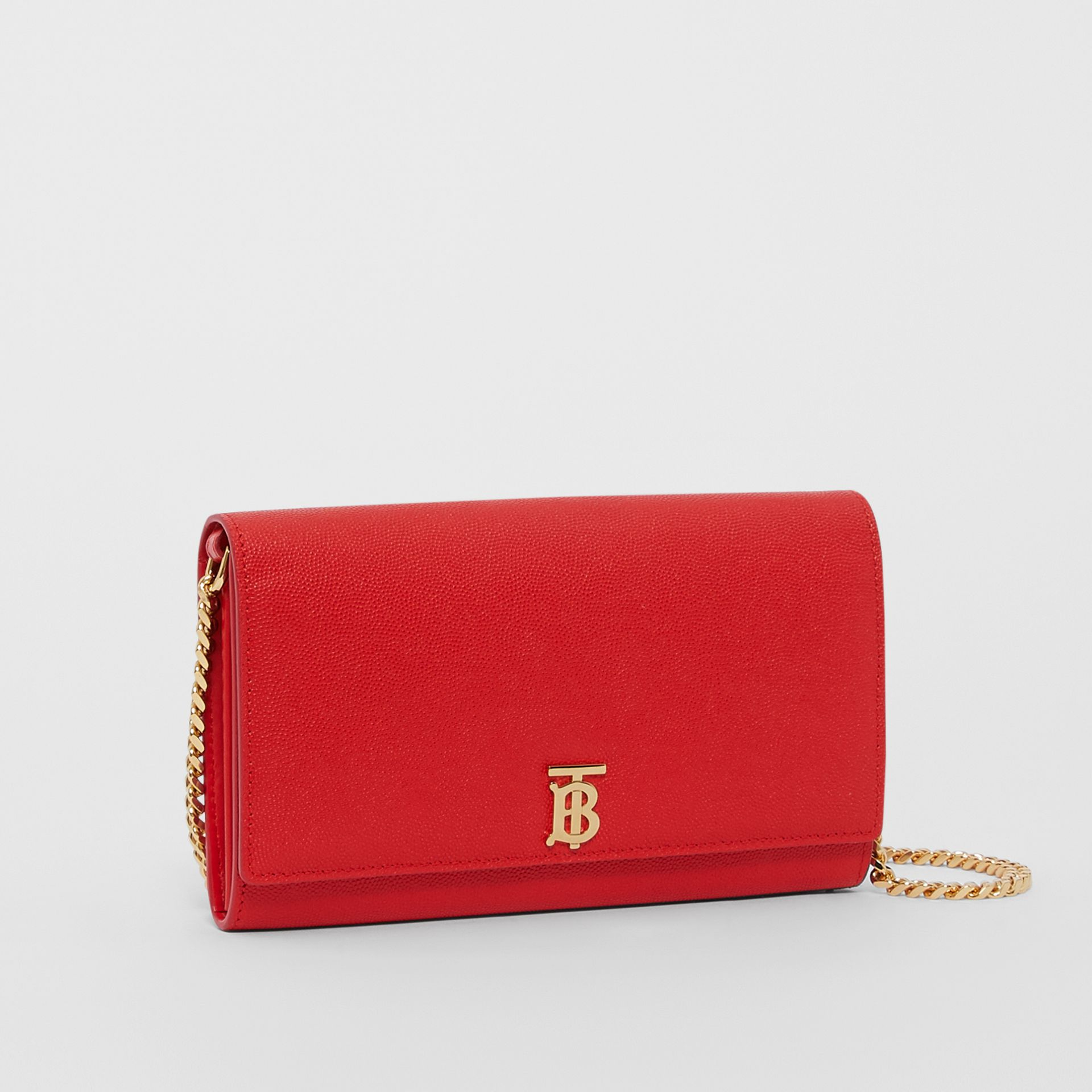 Monogram Motif Leather Wallet with Detachable Strap in Bright Red - Women | Burberry - gallery image 4