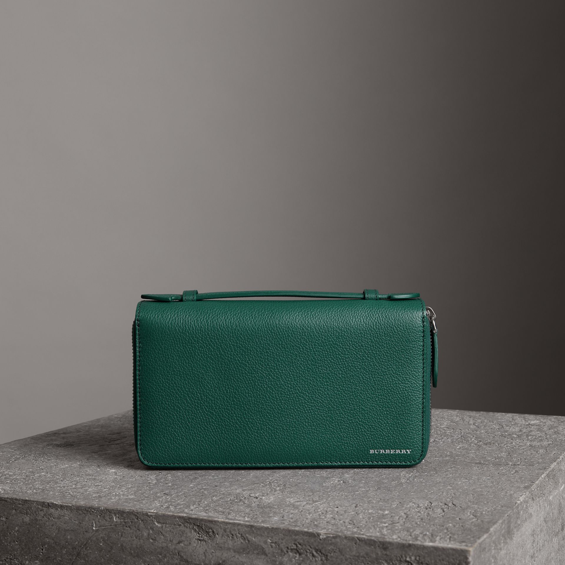 Grainy Leather Travel Wallet in Dark Cyan - Men | Burberry - gallery image 0