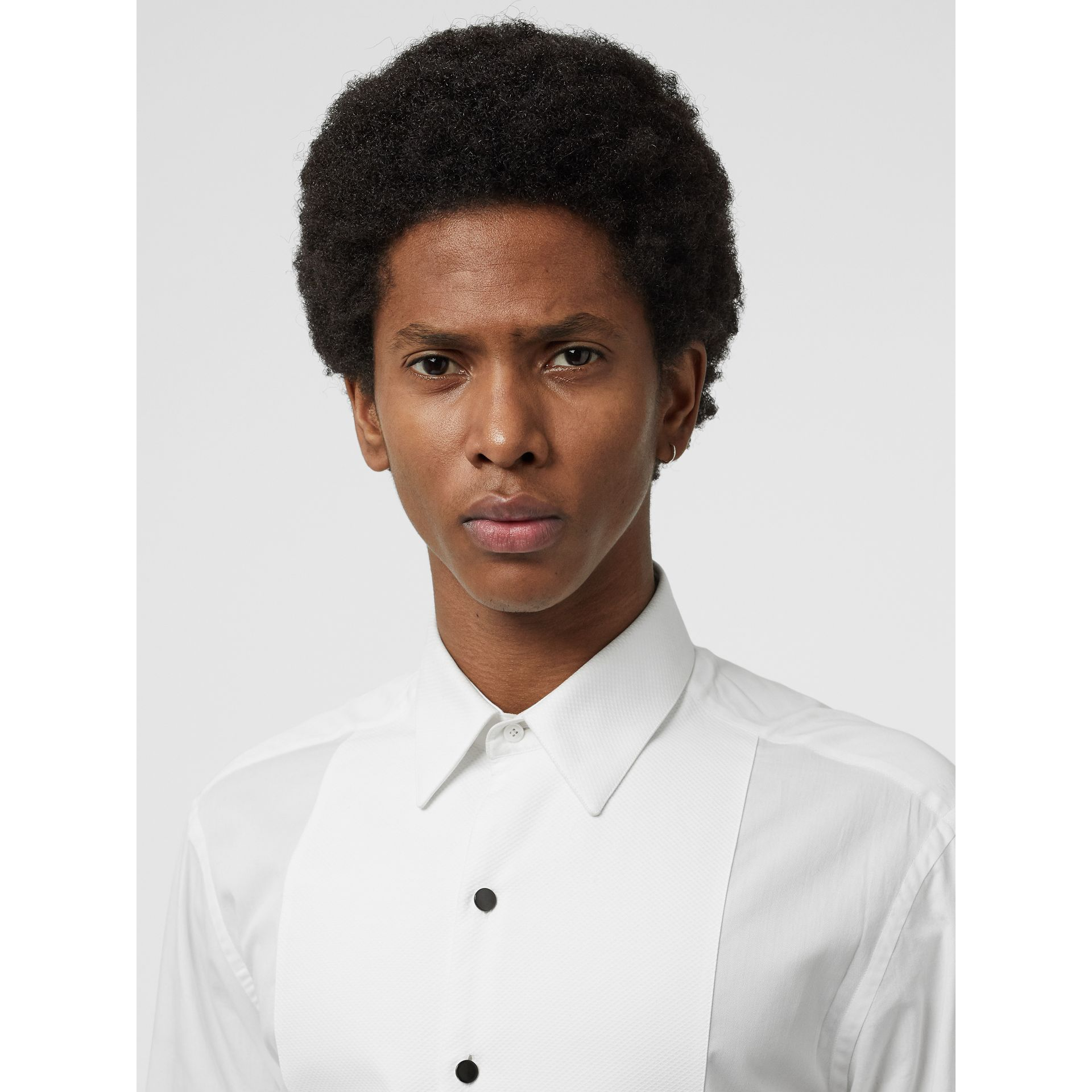 Modern Fit Panelled Bib Cotton Twill Evening Shirt in White - Men | Burberry - gallery image 1