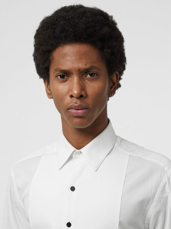 Modern Fit Panelled Bib Cotton Twill Evening Shirt in White - Men | Burberry - cell image 1