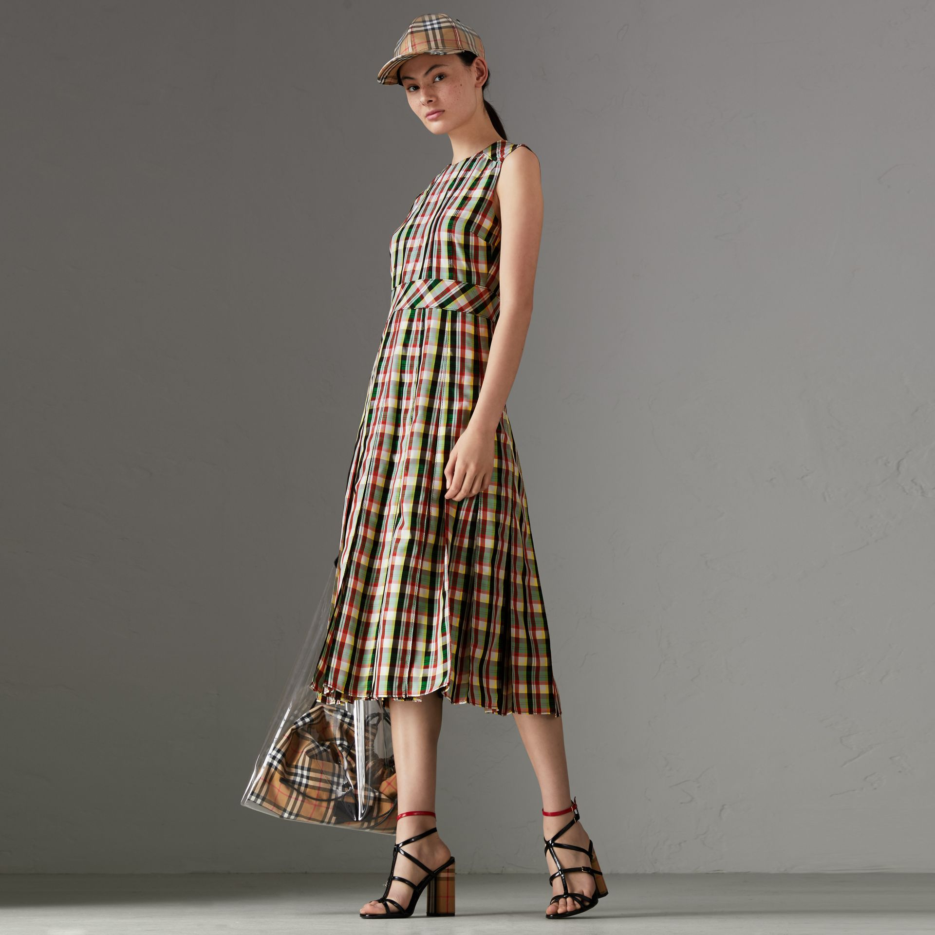 Sleeveless Pleat Detail Check Georgette Dress in Pine Green - Women | Burberry United States - gallery image 0