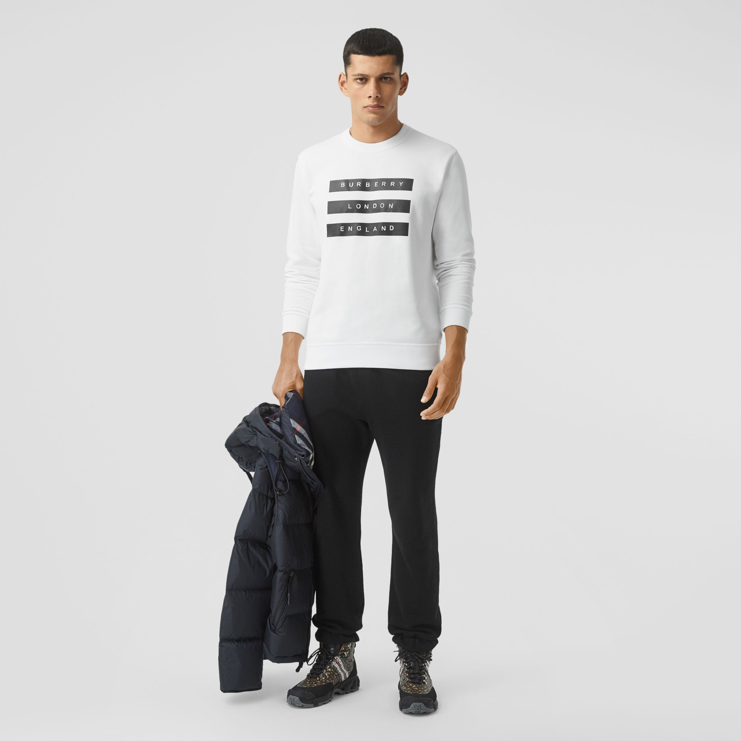 Tape Print Cotton Sweatshirt in White - Men | Burberry - 1