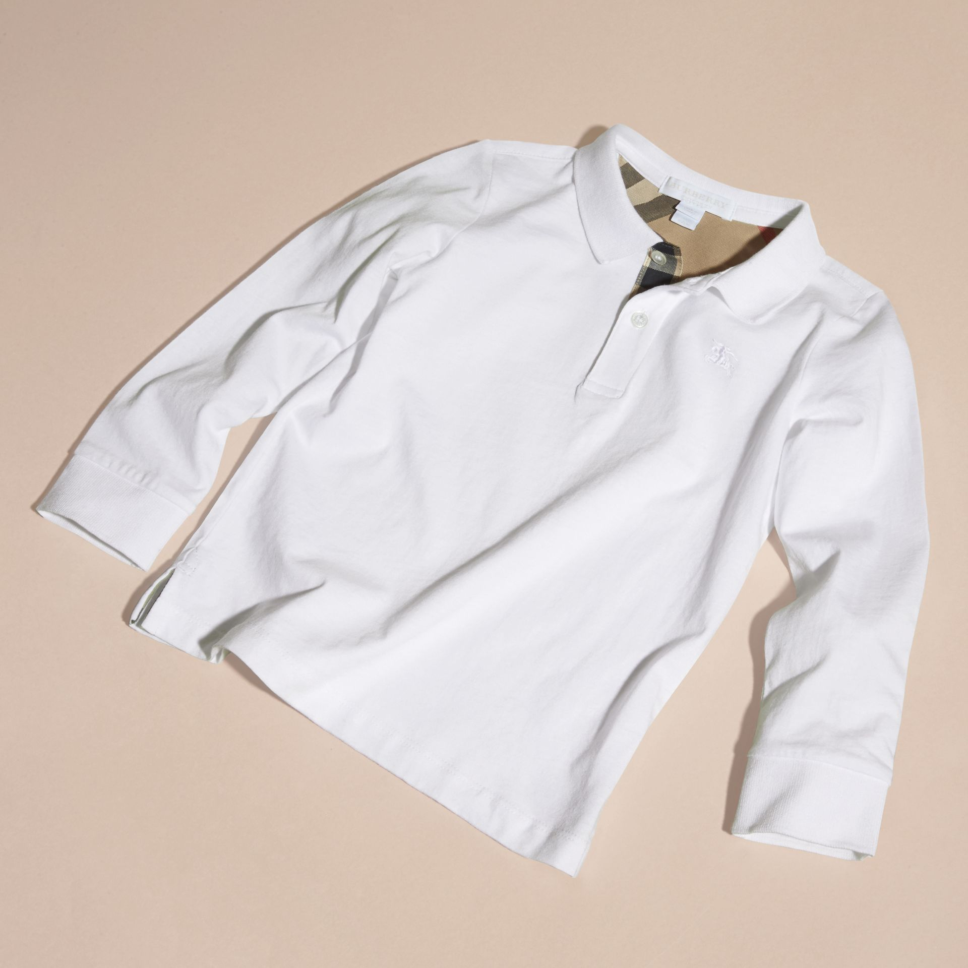 Long-sleeve Cotton Jersey Polo Shirt in White - Boy | Burberry - gallery image 3