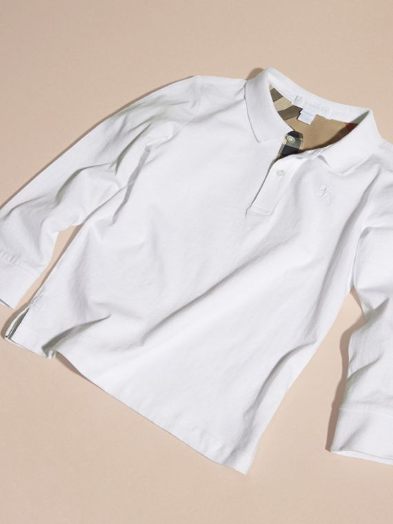 White Long-sleeved Cotton Polo Shirt White - cell image 2