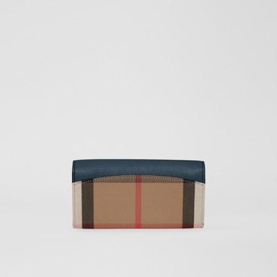 Burberry - Portefeuille continental en coton House check et cuir - 3