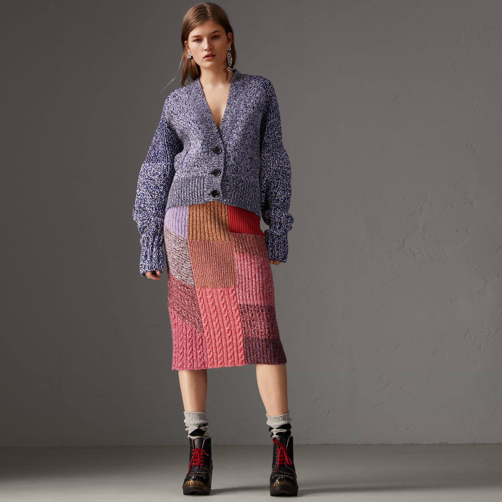Cashmere-wool Mouliné Patchwork Skirt in Multicolour - Women | Burberry Canada - gallery image 0