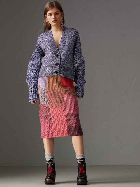 Cashmere-wool Mouliné Patchwork Skirt in Multicolour
