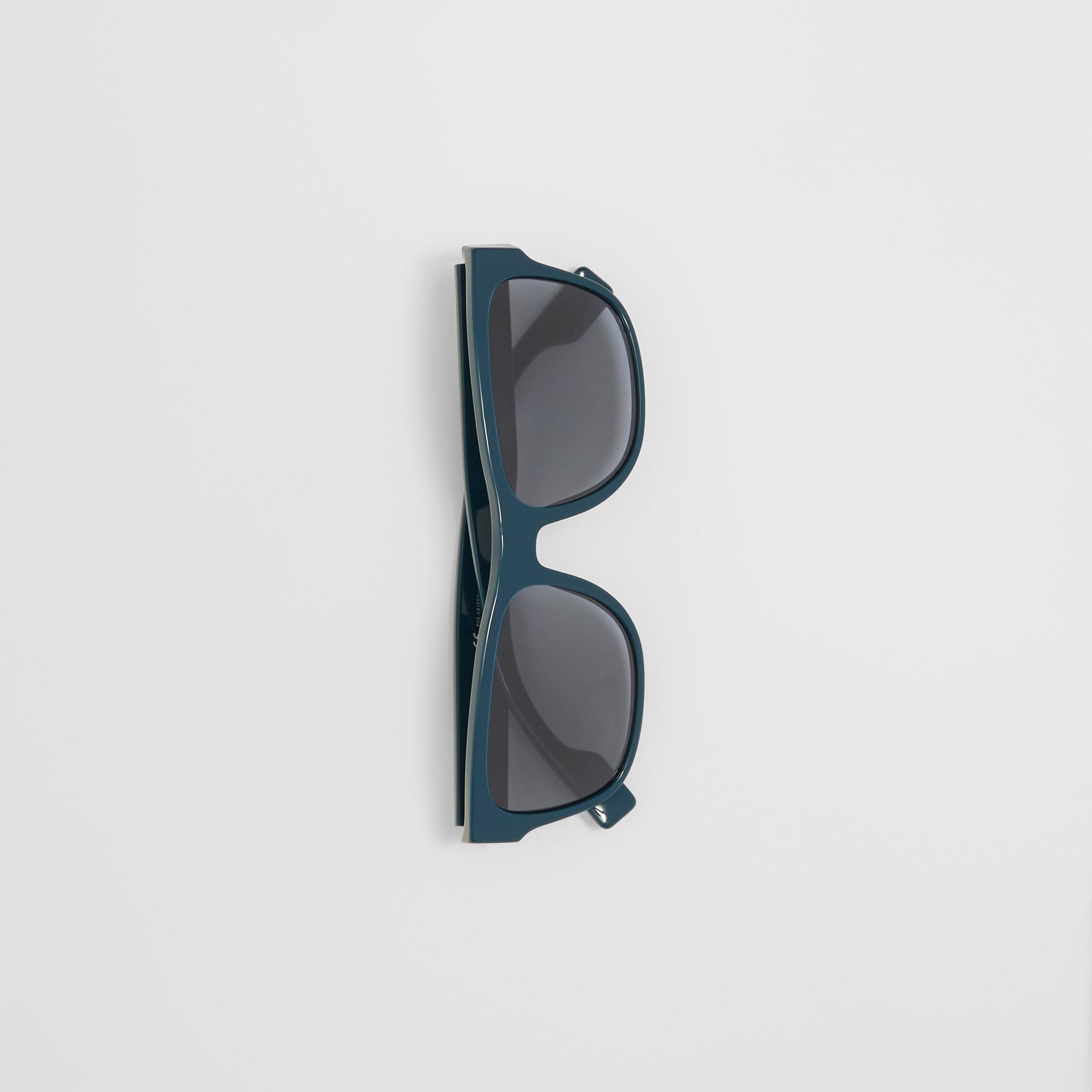 Logo Appliqué Square Frame Sunglasses in Deep Blue - Men | Burberry - gallery image 2