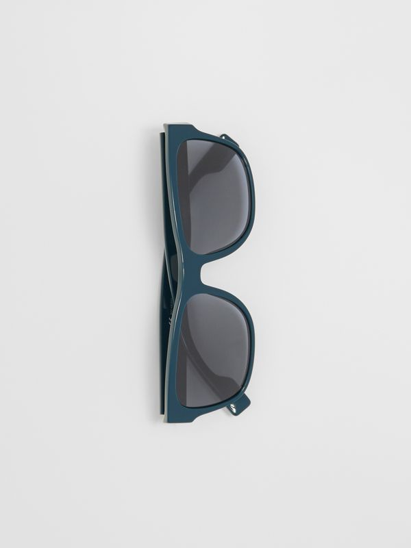 Logo Appliqué Square Frame Sunglasses in Deep Blue - Men | Burberry - cell image 2