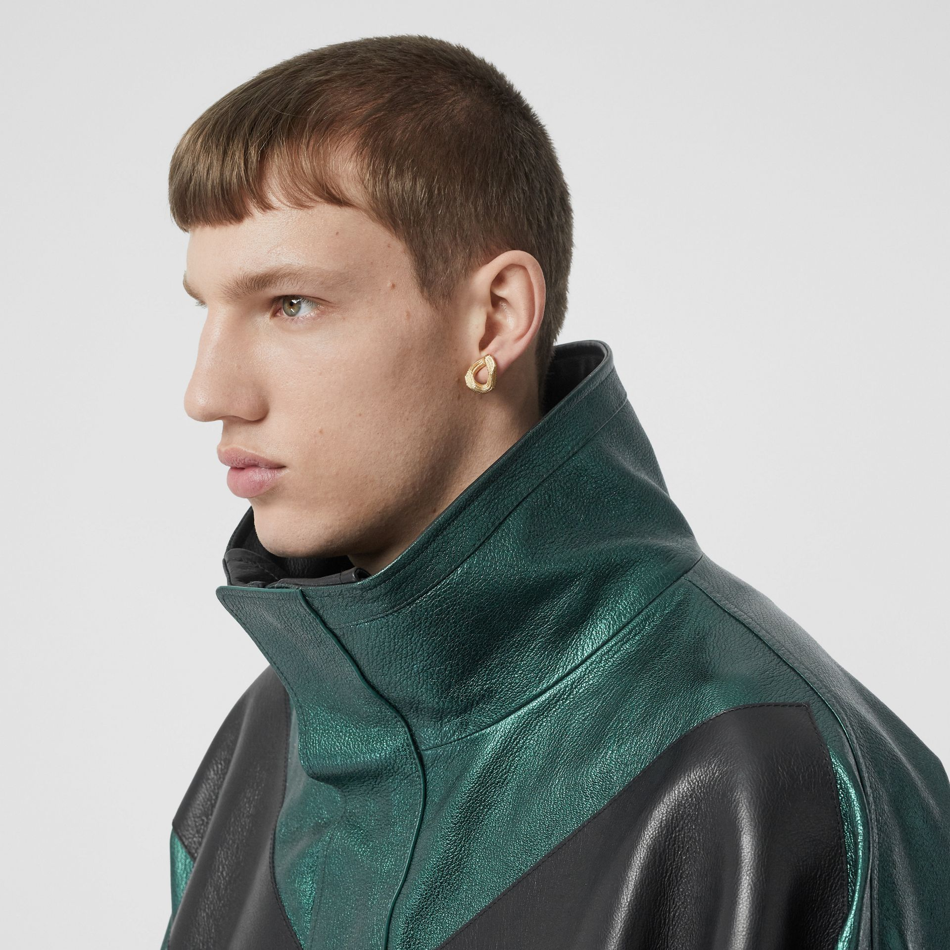 Metallic Leather Jacket with Detachable Warmer in Green - Men | Burberry - gallery image 4
