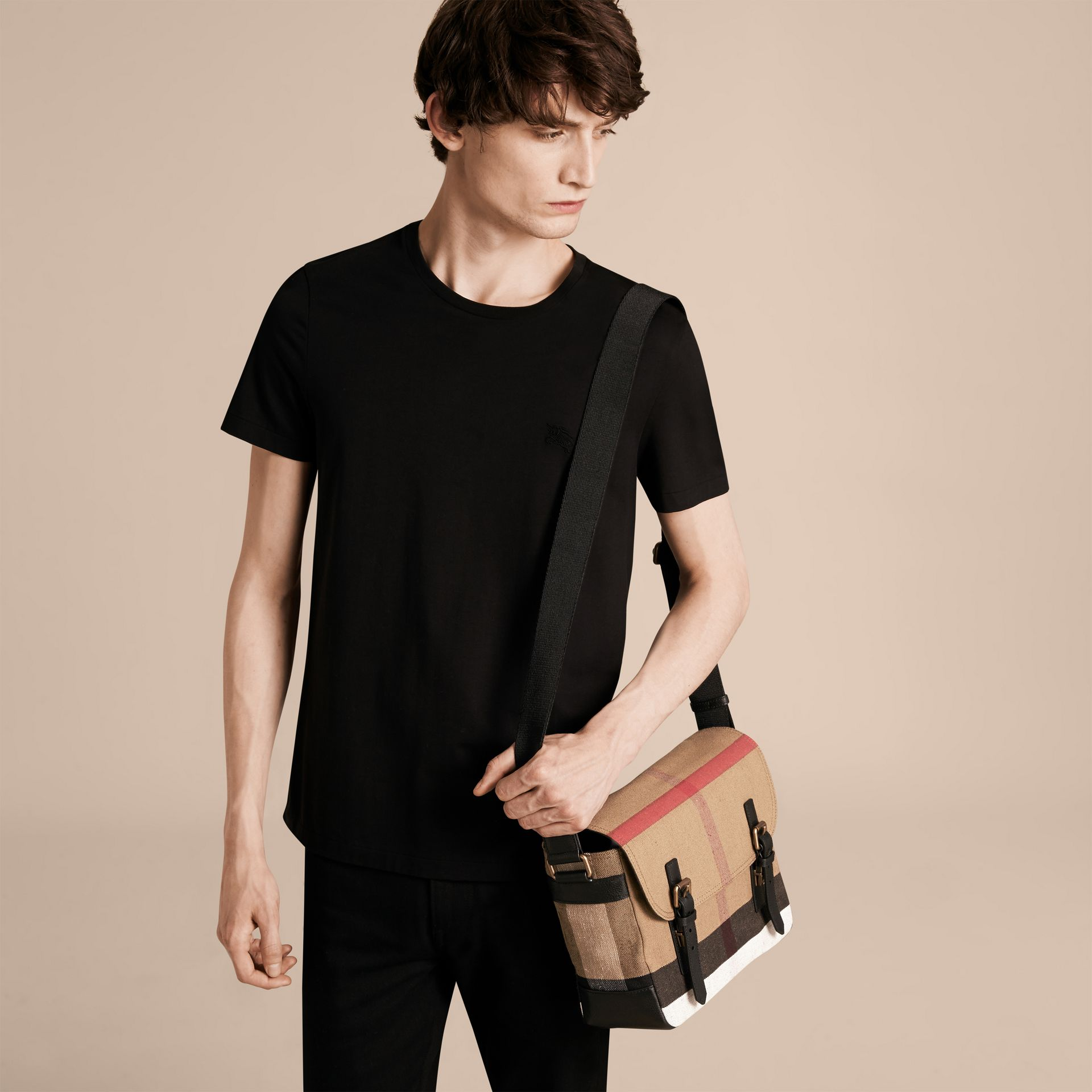 Small Canvas Check Messenger Bag in Black - Men | Burberry United Kingdom - gallery image 2