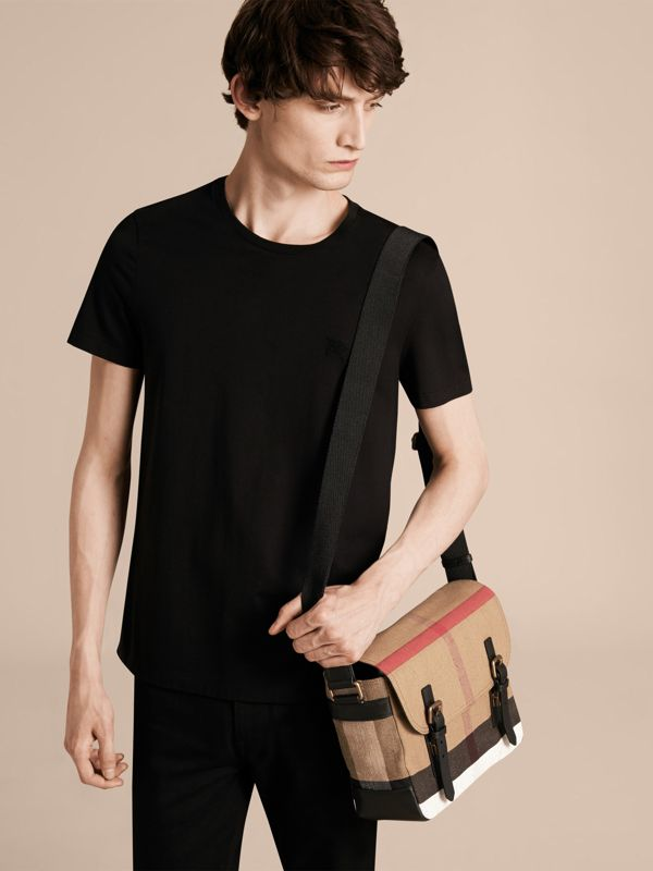 Small Canvas Check Messenger Bag in Black - Men | Burberry United Kingdom - cell image 2