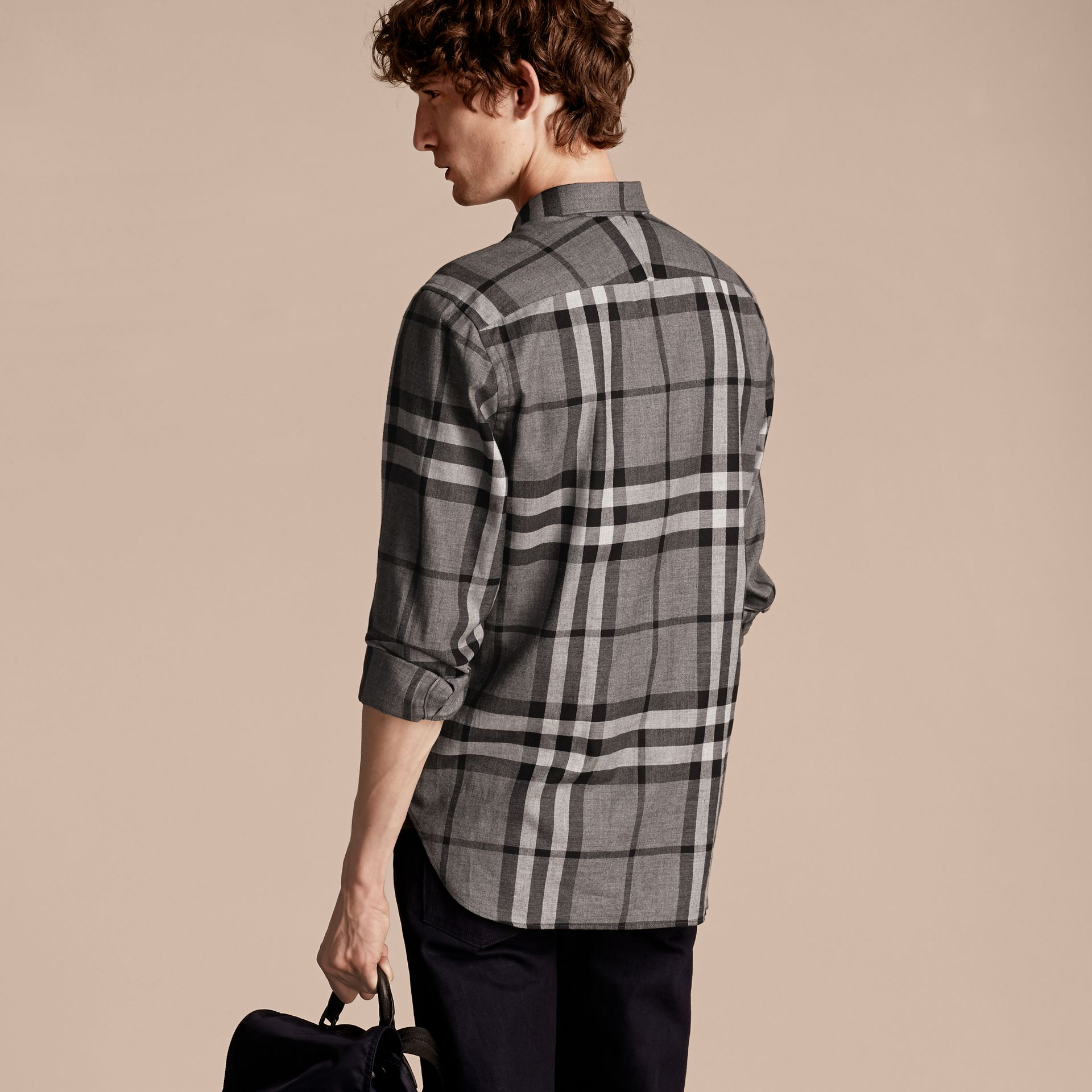 Check Cotton Cashmere Flannel Shirt in Mid Grey Melange - gallery image 3