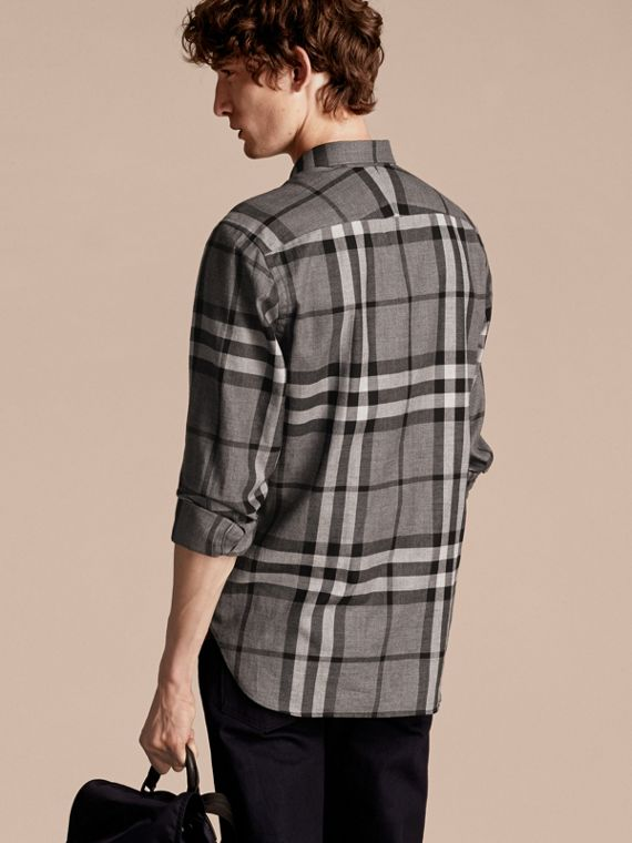 Check Cotton Cashmere Flannel Shirt in Mid Grey Melange - cell image 2