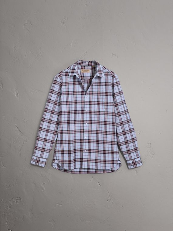 Check Cotton Shirt in Lavender Blue - Men | Burberry Australia - cell image 3