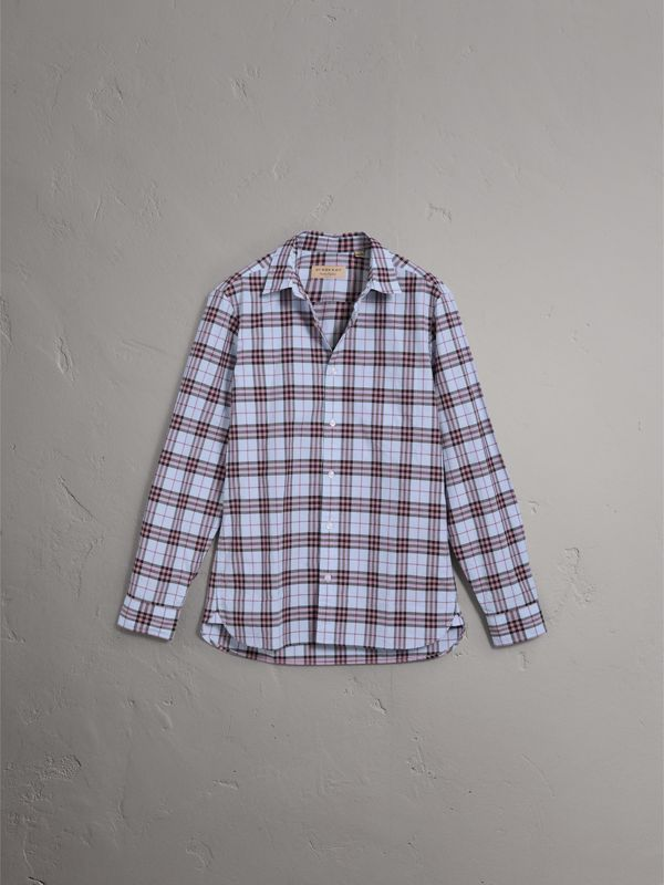 Check Cotton Shirt in Lavender Blue - Men | Burberry - cell image 3