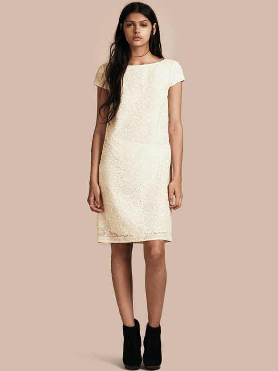 Online Exclusive Italian Lace Shift Dress Off White