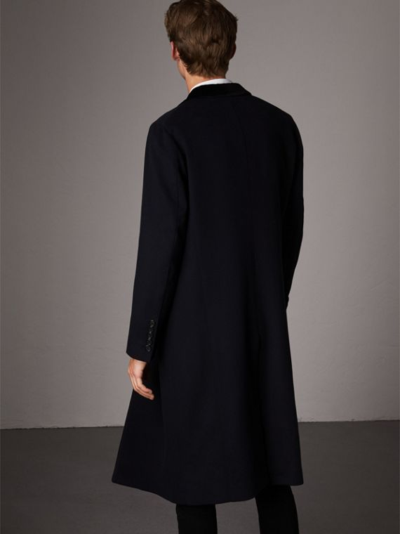 Velvet Collar Wool Cashmere Coat in Navy - Men | Burberry United Kingdom - cell image 2
