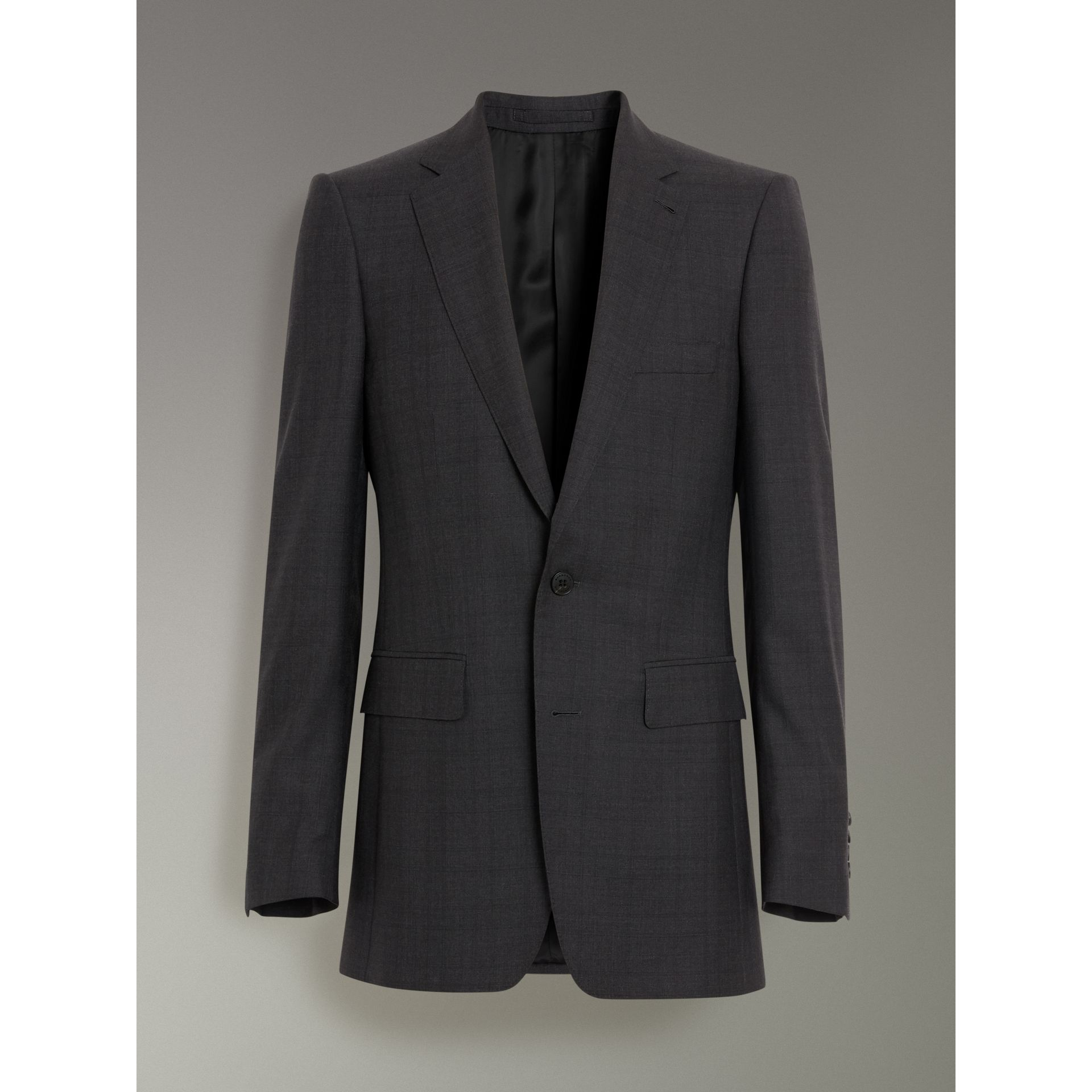 Slim Fit Prince of Wales Check Wool Silk Suit in Charcoal Melange - Men | Burberry United Kingdom - gallery image 3