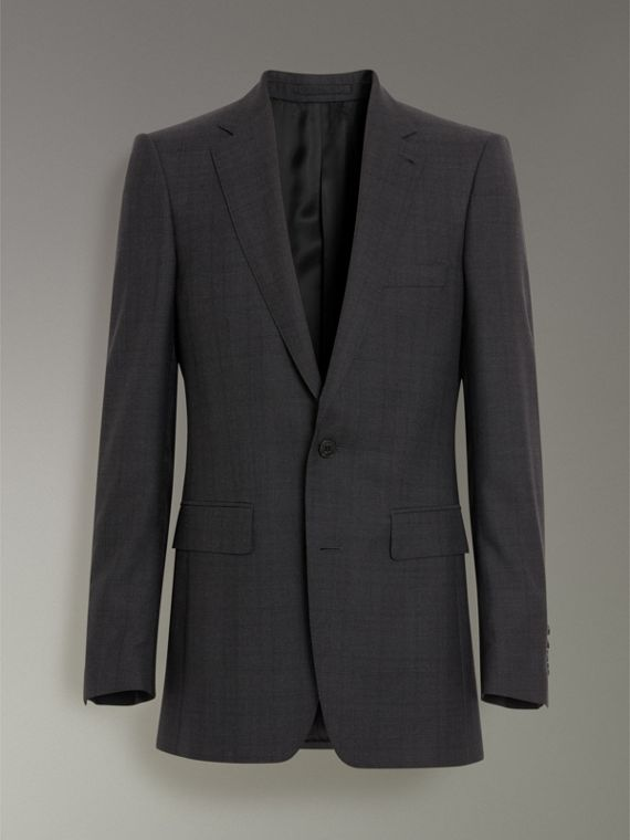 Slim Fit Prince of Wales Wool Silk Suit in Charcoal Melange - Men | Burberry United Kingdom - cell image 3
