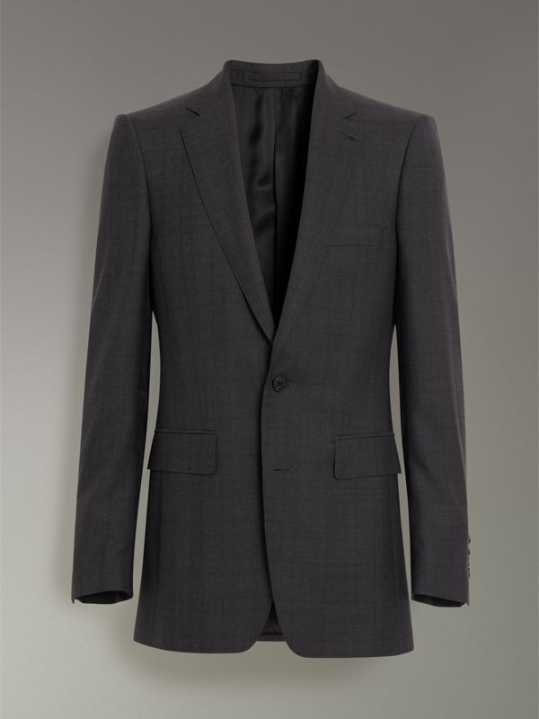 Slim Fit Prince of Wales Check Wool Silk Suit in Charcoal Melange - Men | Burberry - cell image 3