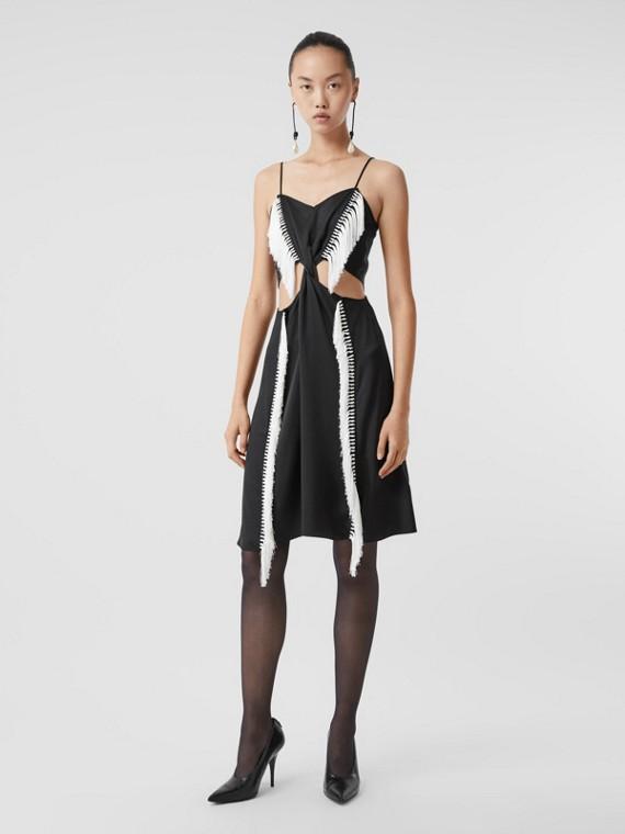 Платье из шелкового атласа с бахромой (Черный)
