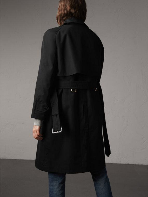Resin Button Cotton Gabardine Trench Coat in Black - Women | Burberry United Kingdom - cell image 2