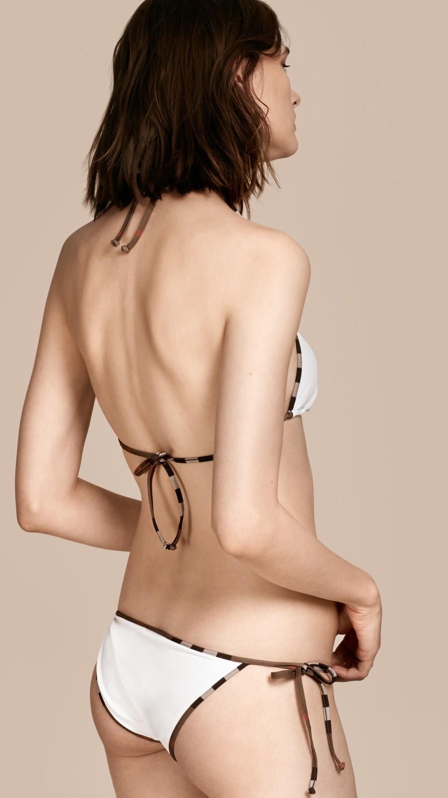 White Check Trim Triangle Bikini White - Image 3