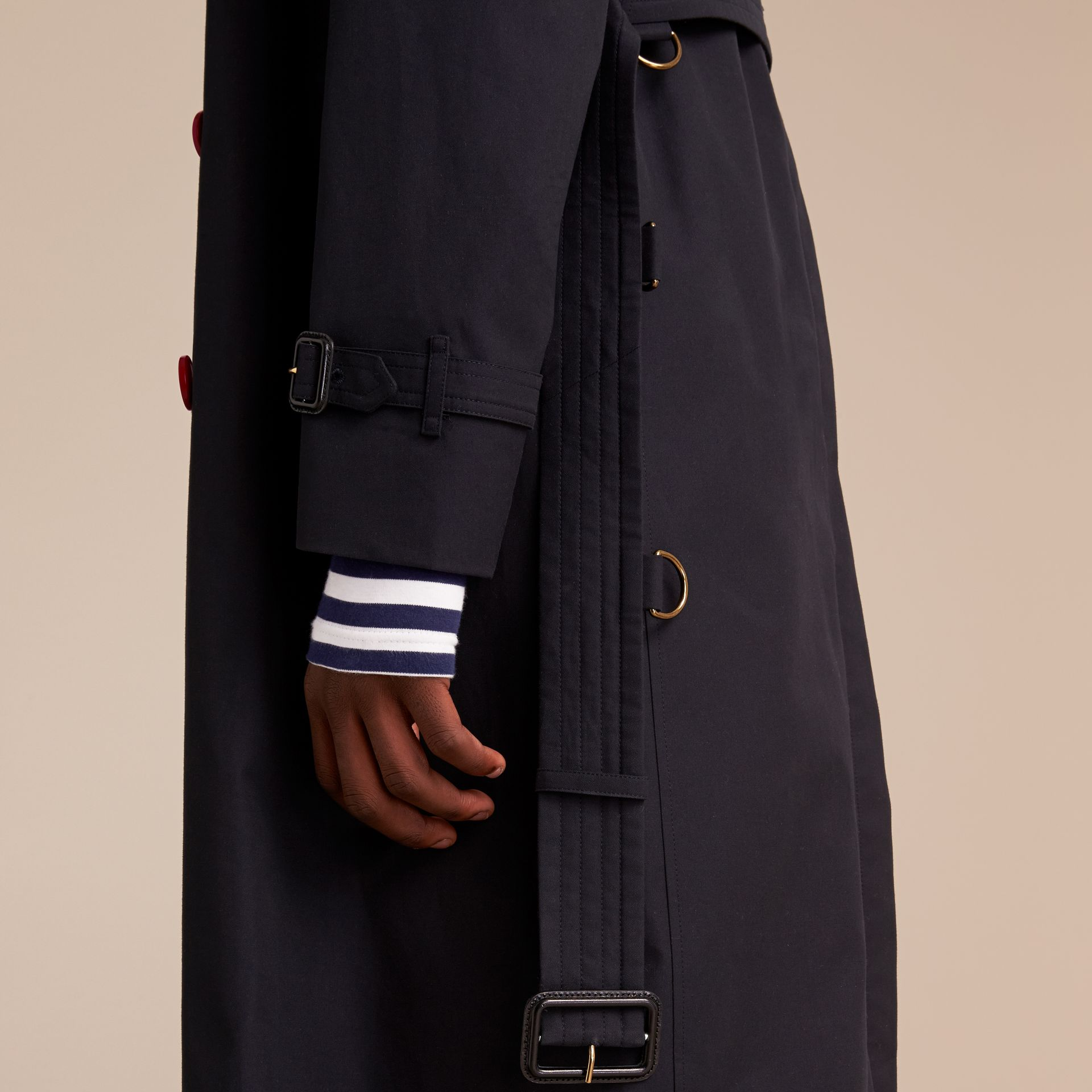 Extra-long Resin Button Cotton Gabardine Trench Coat in Navy - Men | Burberry - gallery image 6