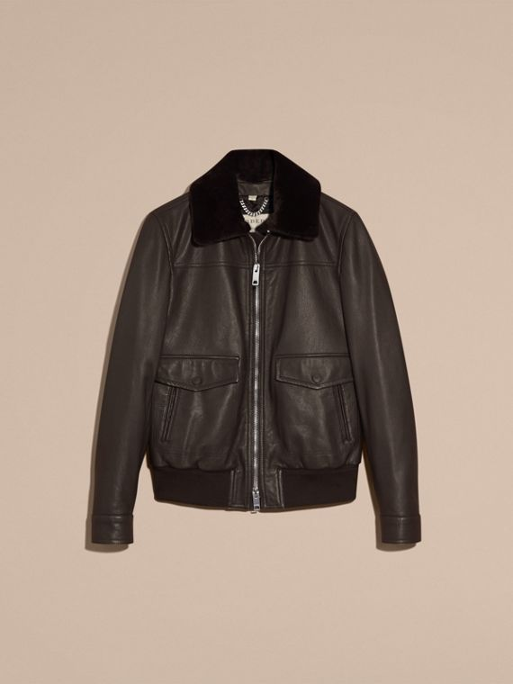 Dark brown Textured Leather Jacket with Detachable Mink Collar - cell image 3