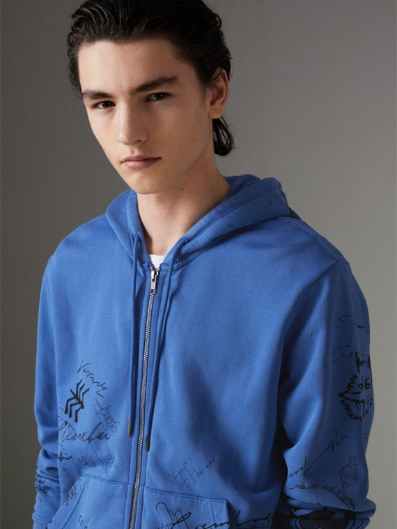 Adventure Print Cotton Jersey Hooded Top in Cornflower Blue