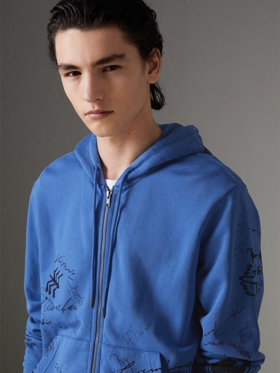 Jaqueta de algodão com capuz e estampa Adventure (Azul Centáurea)