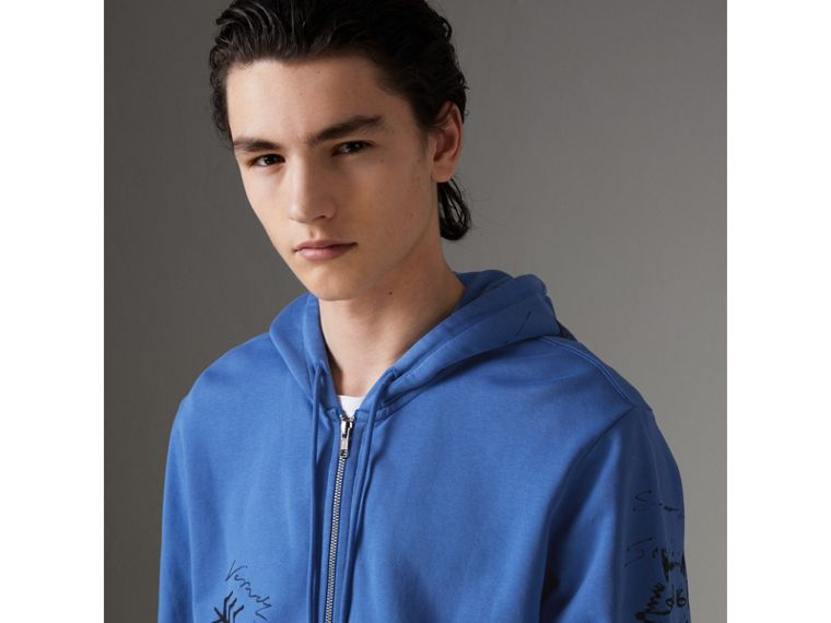 Adventure Print Cotton Jersey Hooded Top in Cornflower Blue - Men | Burberry Australia - cell image 4