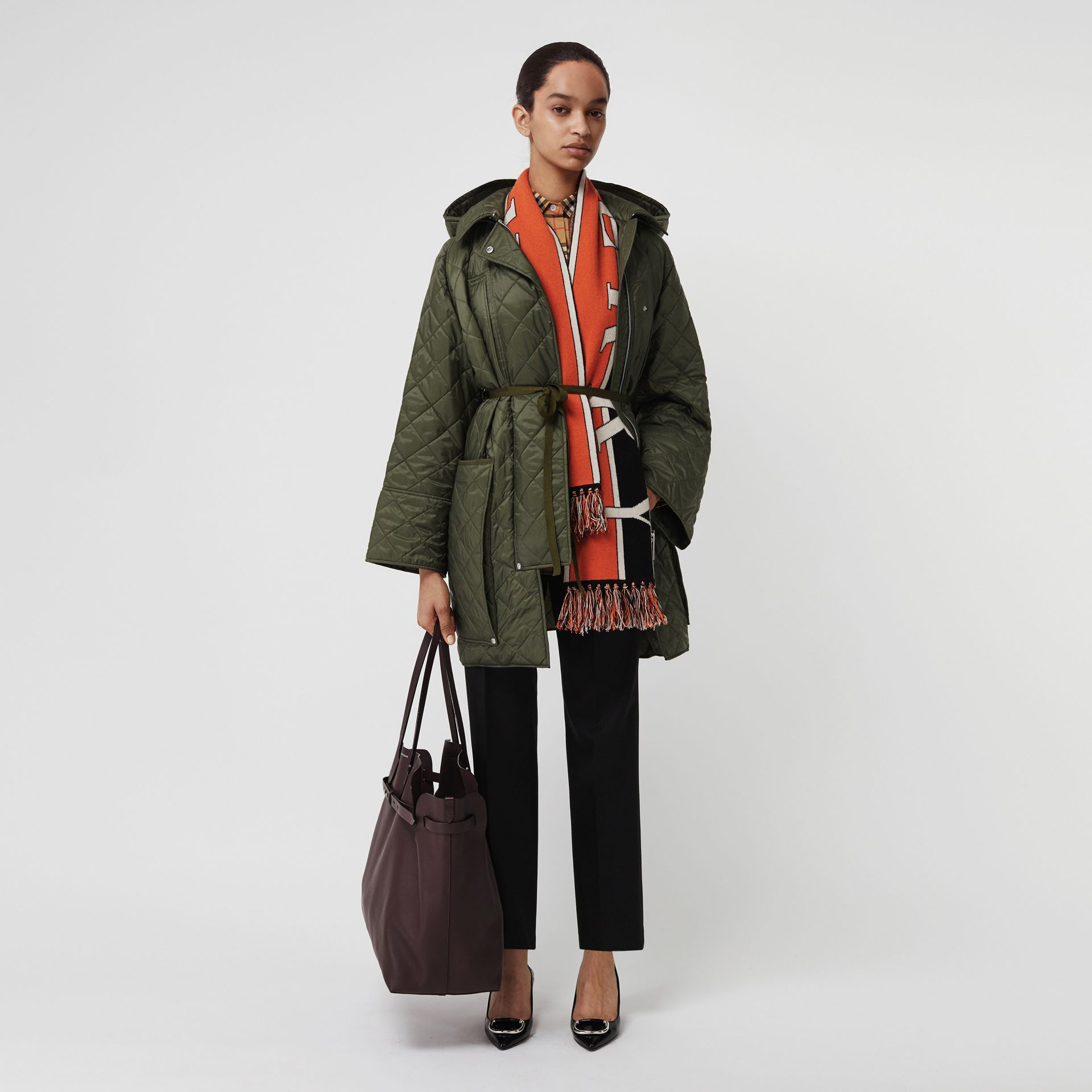 Lightweight Diamond Quilted Hooded Coat in Cadet Green - Women | Burberry United Kingdom - gallery image 0