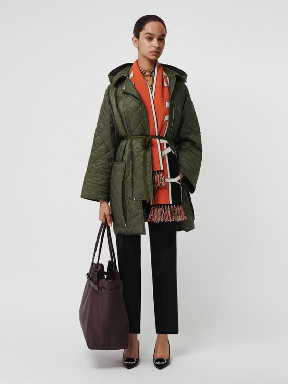 Lightweight Diamond Quilted Hooded Coat in Cadet Green
