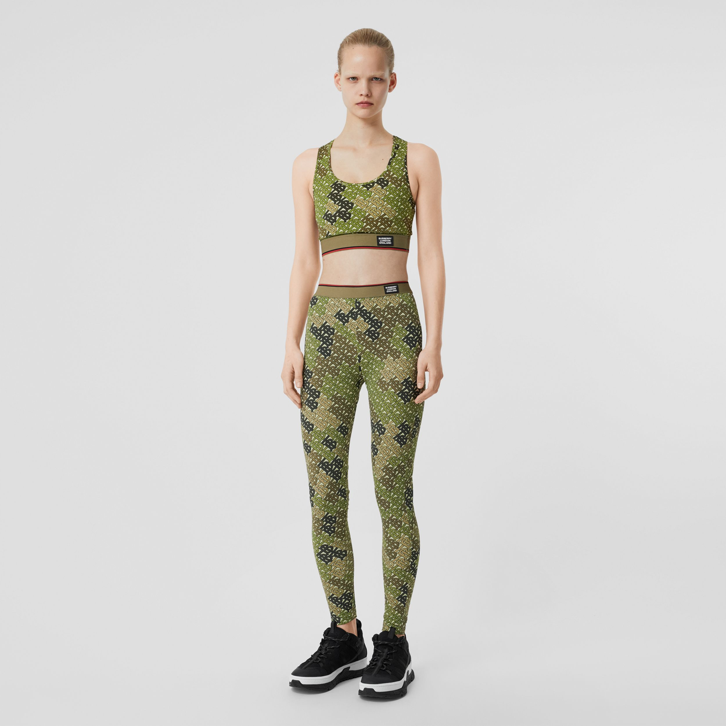Monogram Print Stretch Jersey Leggings in Khaki Green - Women | Burberry - 1