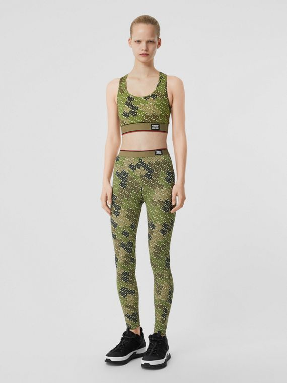 Monogram Print Stretch Jersey Leggings in Khaki Green