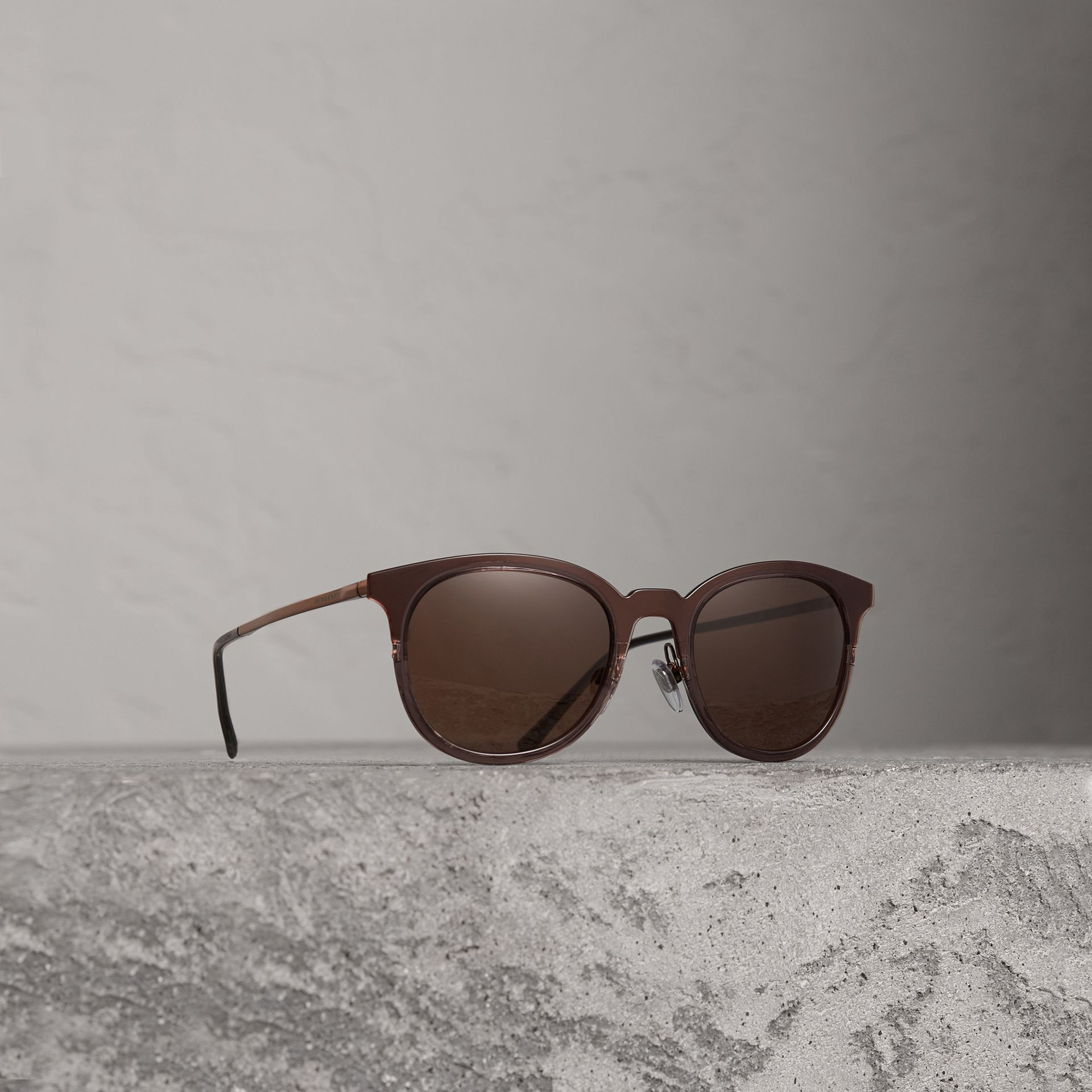 Round Frame Sunglasses in Burnt Orange - Men | Burberry United Kingdom - gallery image 0